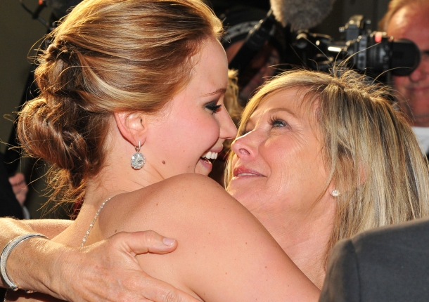 Jennifer having a cuddle with her mum