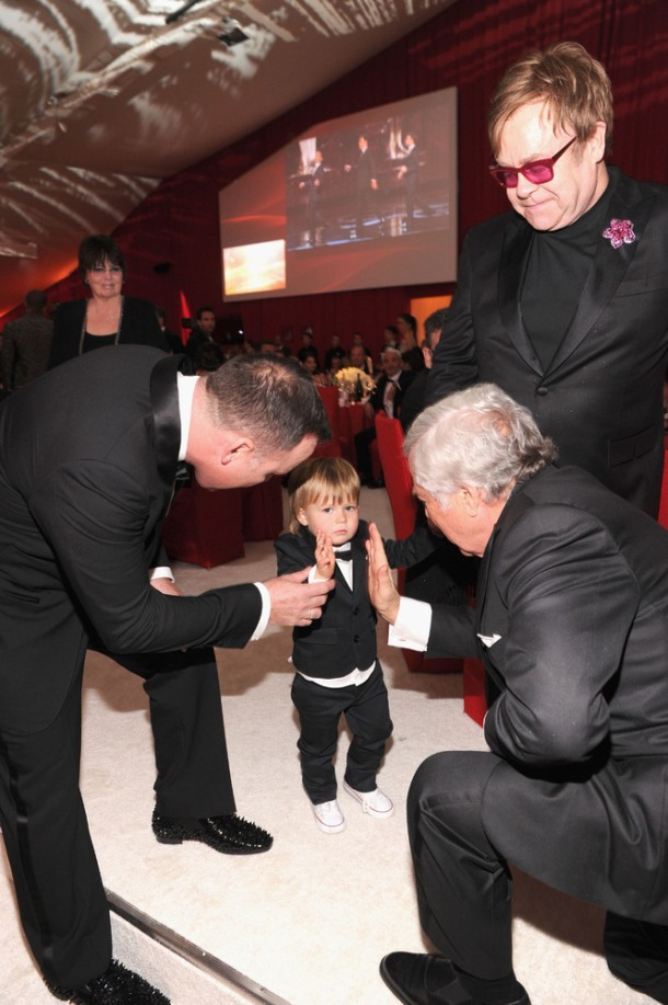 With his partner David Furnish and their son Zachary