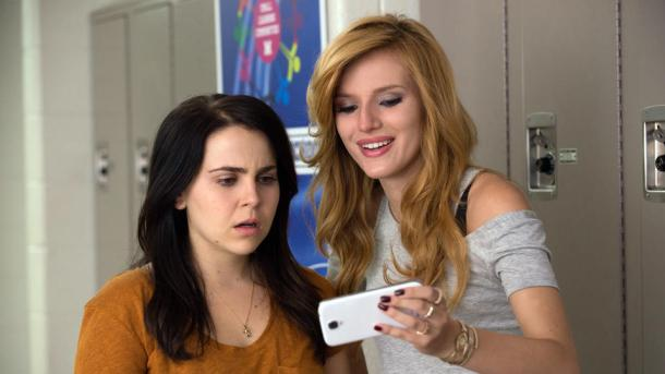 Mae Whitman, left, and Bella Thorne in The DUFF, from CBS films site