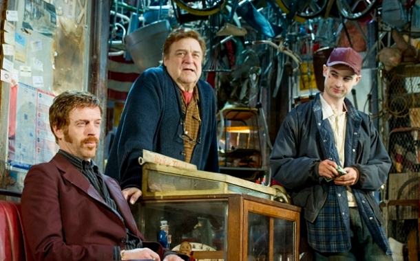 American Buffalo performed at Wyndham's Theatre Damian Lewis as Walter, John Goodman as Don, Tom Sturridge as Bob ©Alastair Muir 22.04.15